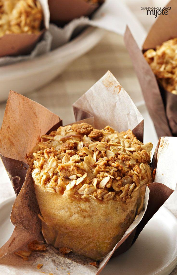 Muffins aux pommes et au beurre d'arachide avec garniture streusel - Au déjeuner ou à la collation, un petit délice !