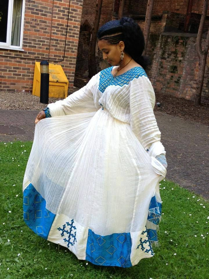 New Zufan Organza Telf Ethiopian Dress  Ethiopian Clothing