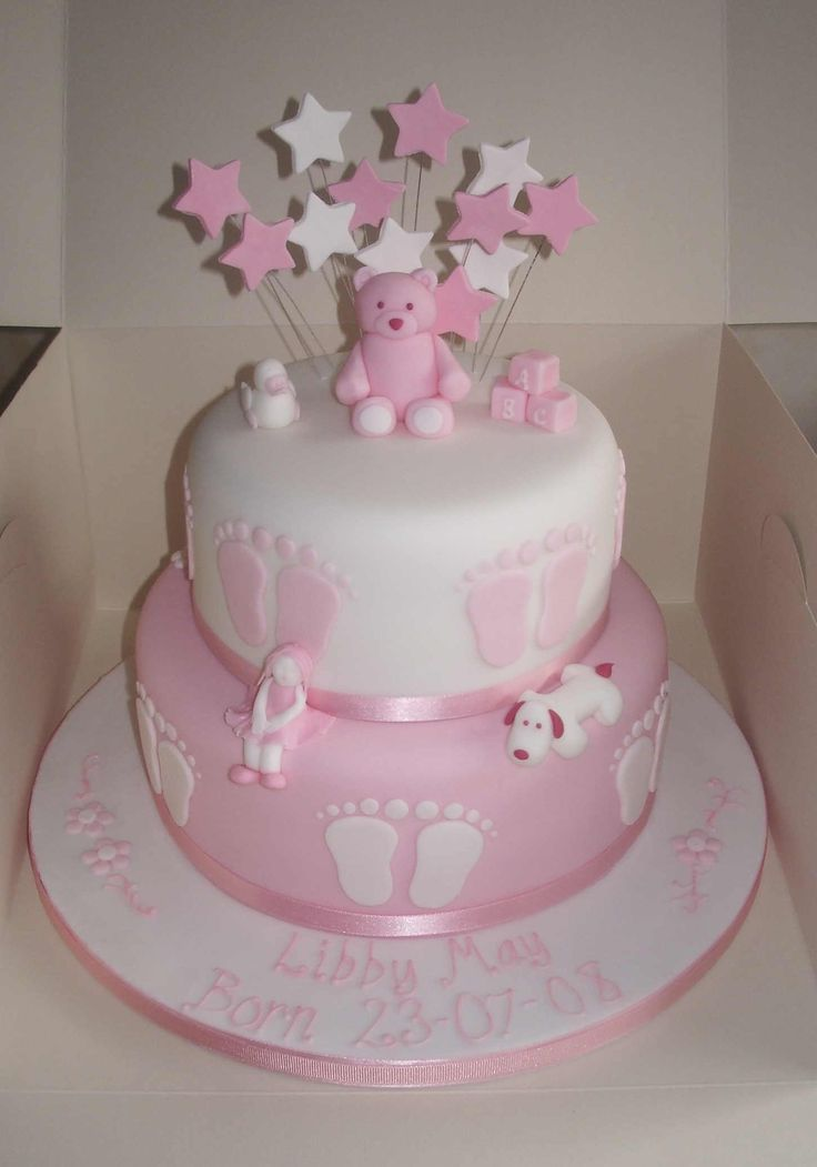 Christening Cake Design For Baby Girl : cakes-pink-dogs-and-bear-christening-cake.jpg (1451x2073 ...