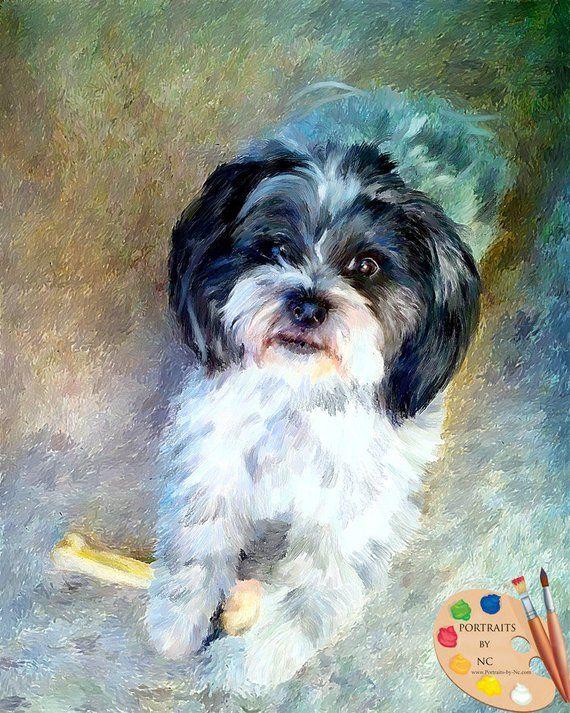 Custom Dog Pet Portrait Shih Tzu Portrait With Images Dog Portraits Dog Paintings Shih Tzu Dog