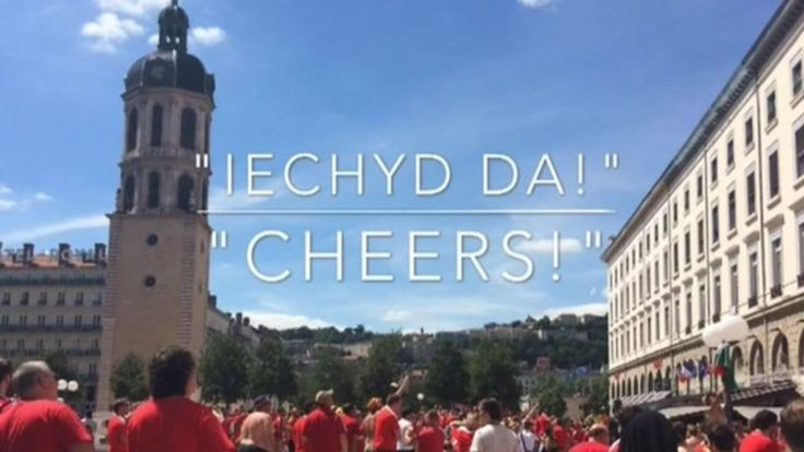 Euro 2016 fans try to speak Welsh in Lyon - BBC News