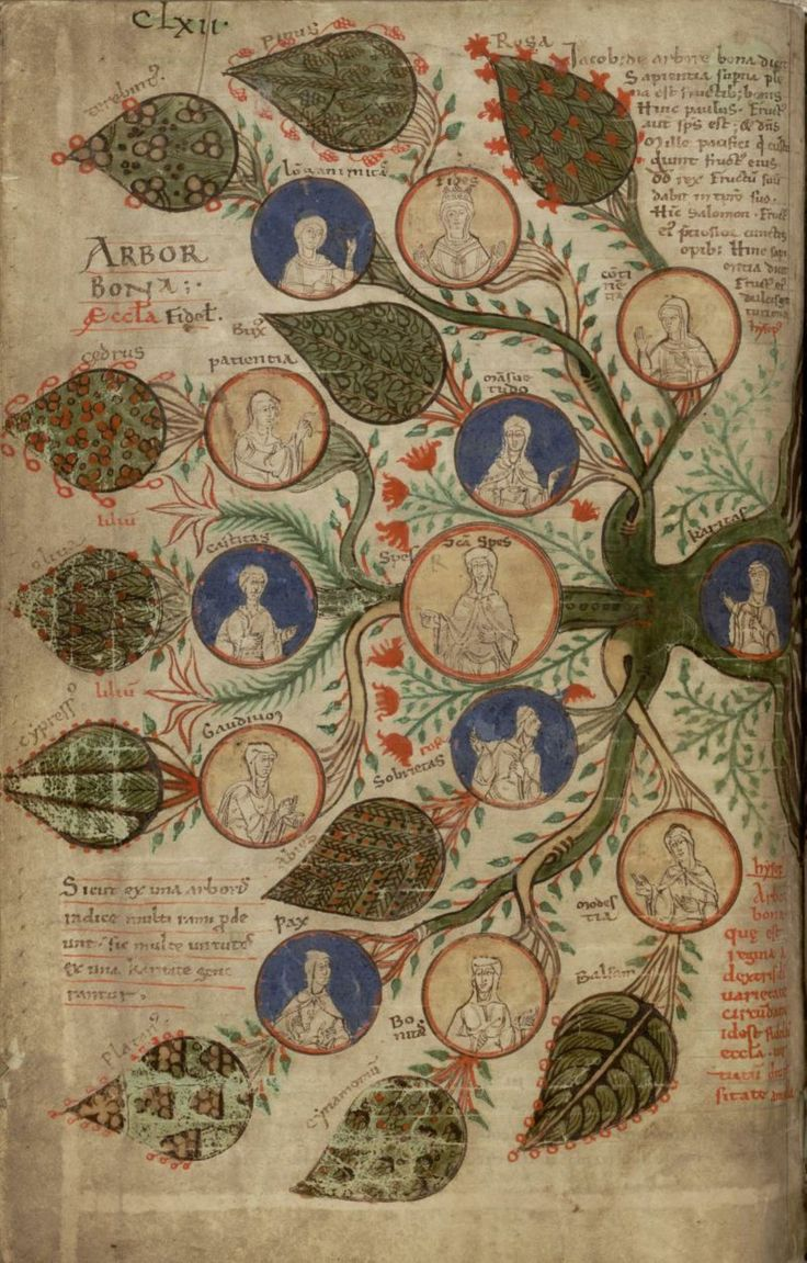 """Tree of virtues, in """"Liber Floridus"""", creation: 1120, author: Lambert of Saint Omer, edition: 1121, copy scribed by the author himself, folio 231v, Universiteitsbibliotheek Gent"""