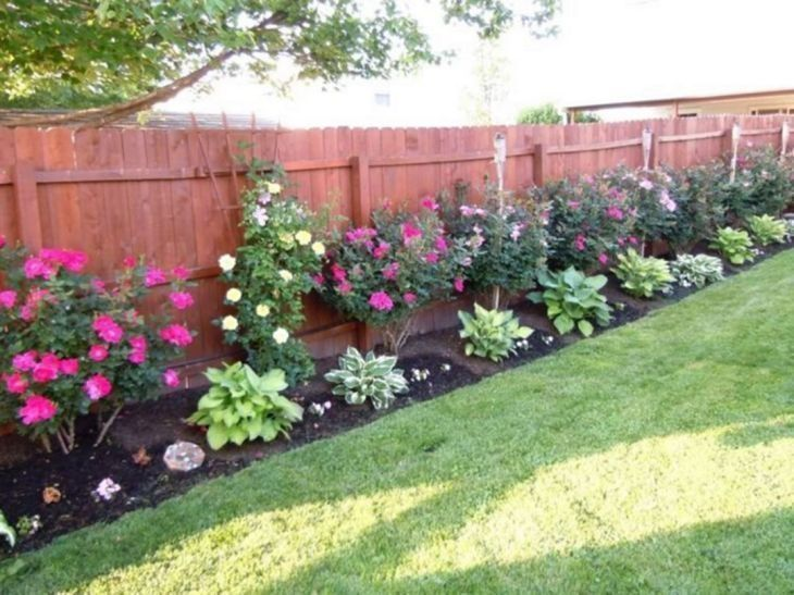 30 Classy Backyard Garden Ideas With Fence Design In 2020 Rose Garden Design Landscaping Along Fence Backyard Garden Design