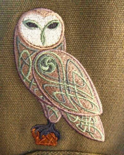 Celtic Owl Engineer Messenger Bag Embroidered Knotwork Cotton Canvas