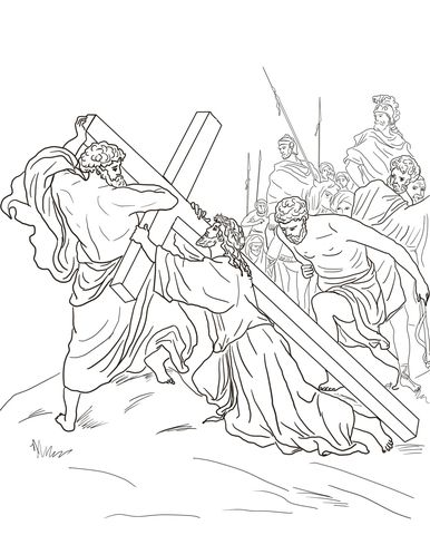 Fifth Station - Jesus is Helped to Carry His Cross Coloring page