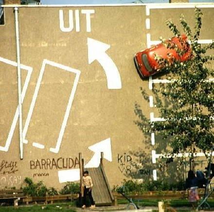 Van Miereveltstraat, muurschildering van Theo van Laar, gezien vanaf de De Heemstraat