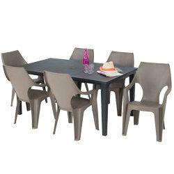 Salon de jardin: table FUTURA graphite + 6 fauteuils DANTE cappuccino