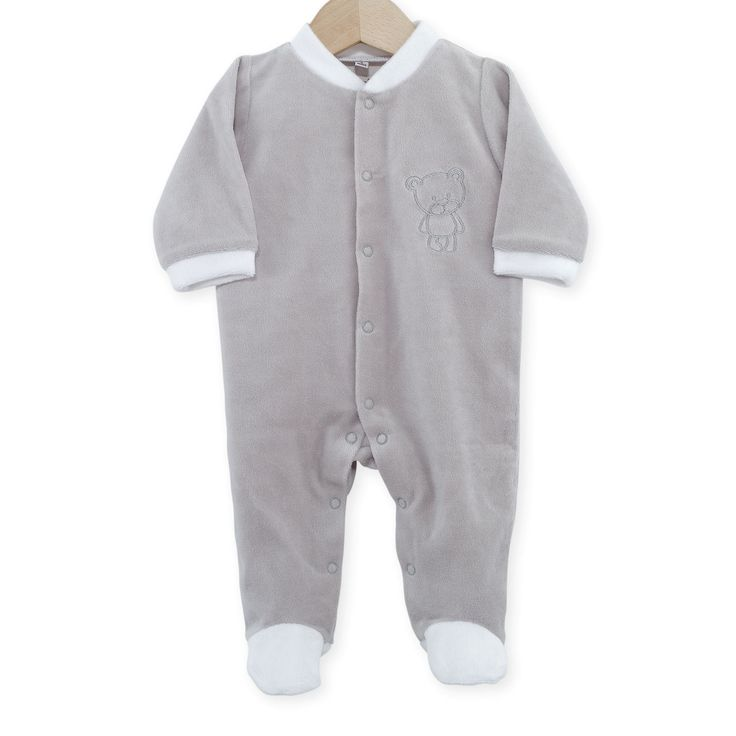 "Pyjama naissance en velours gris/blanc ""Nounours"" #Pyjama #naissance #leskinousses"