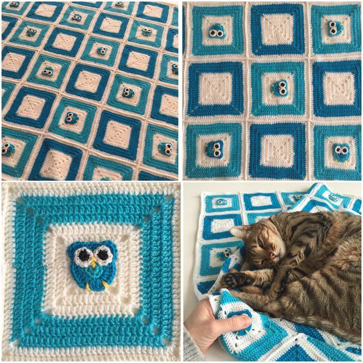 Hæklet babytæppe med ugler Crochet blanket