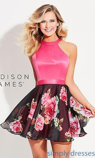 cdf71ee8e0 High-Neck Short Homecoming Dress with Print Skirt | Spring fling ...