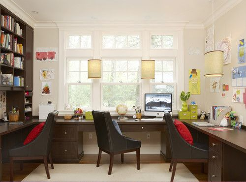 Convert Formal Dining Room Into A Family Office Similar To This But With Lighter