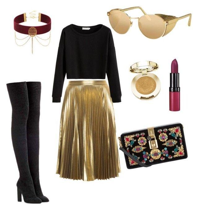 Golden style by lenshop-gr on Polyvore featuring A.L.C., adidas Originals, Dolce&Gabbana, Milani, Rimmel and sunglasses Linda Farrow http://lenshop.eu/manufacturers/13363-linda-farrow/sunglasses
