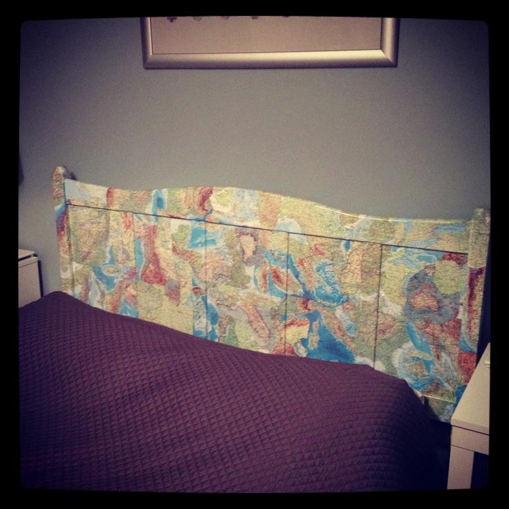 World Map Decoupage Headboard Bed Pillows Pillows