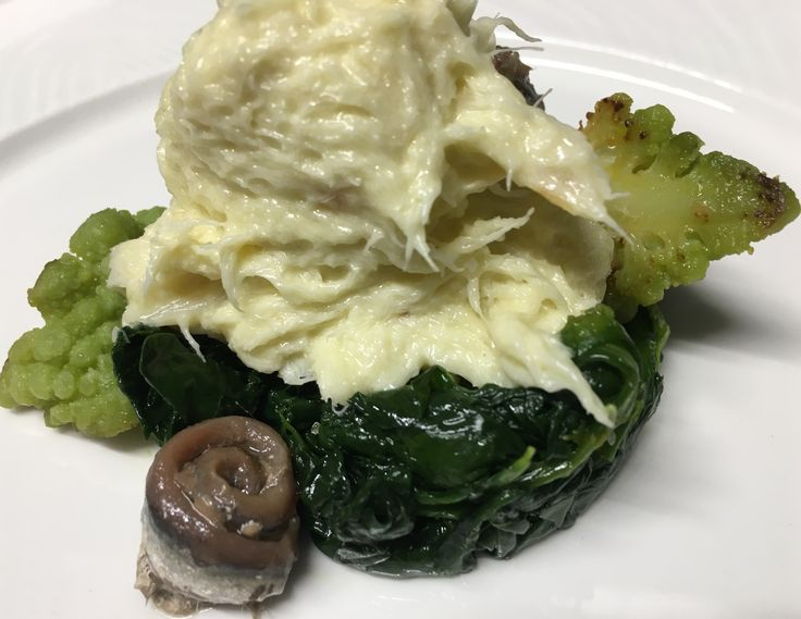 Stockfish brandade venice style with spinaches, green cauliflower and anchovies