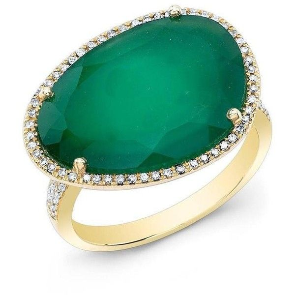14kt yellow gold green onyx organic diamond cocktail ring ($1,119) ❤ liked on Polyvore featuring jewelry, rings, gold jewellery, green diamond ring, gold ring, green onyx ring and gold jewelry