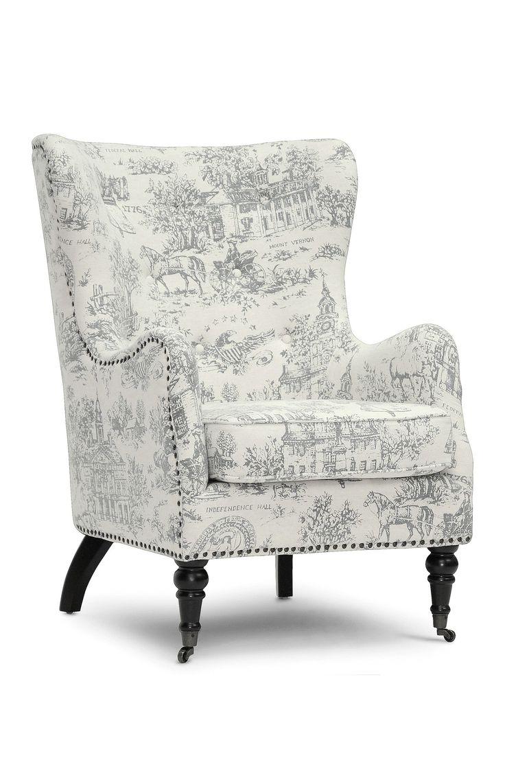 Livingston Colonial Print Beige Linen Accent Chair