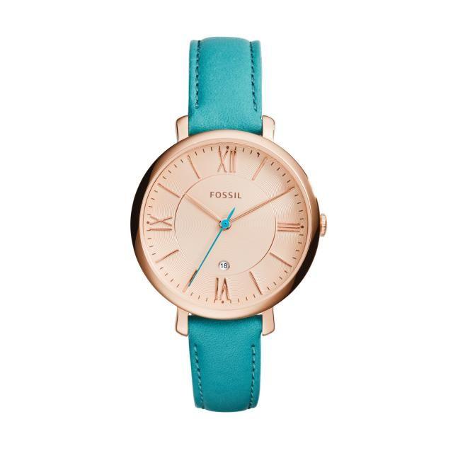 FOSSIL HORLOGE es3736 || Rosé goud dameshorloge met turqouise horlogeband en wijzers; helemaal hip! http://www.horlogesstyle.nl/fossil-horloges #fossilhorloge #turqouise #dameshorloge #fossil