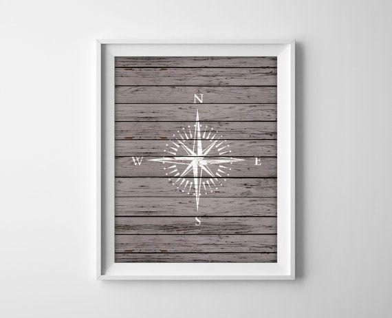 Nautical Compass Wood Art Prints - Rustic Nautical Decor - Beach House Bathroom Decor - Rose Compass Silhouette Sailing Wall Art