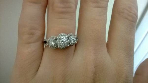 14k white gold ring tons of diamonds - $600