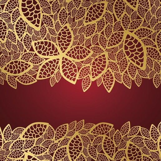 Vector Vintage Invitation Cards with Golden Lace Backgrounds 05