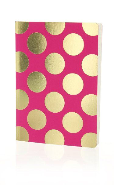 Go Stationery Shimmer A5 Gold Polka Dots Notebook - Pink