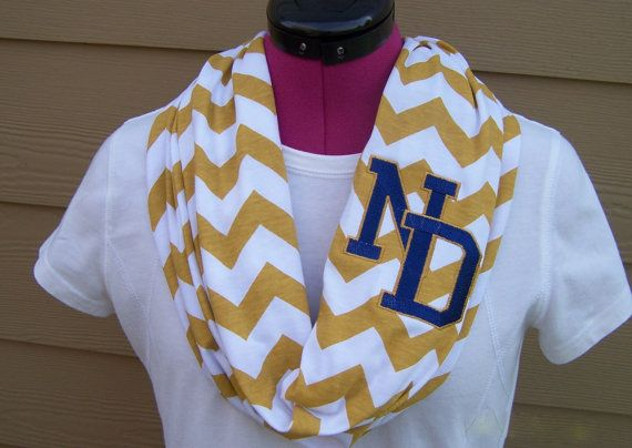 Notre Dame Monogrammed Gold & White Game Day Chevron Infinity Scarf  Knit Jersey on Etsy, $28.00