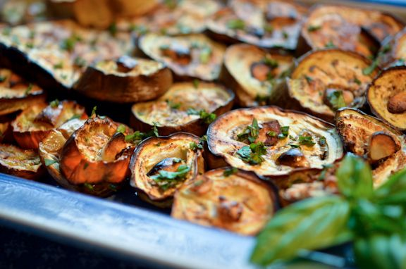 Simply roasted eggplant with garlic - very quick and tasty.