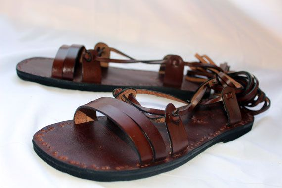 Ancient Style Lace Up Brown Leather Handmade Flat Roman by Calpas