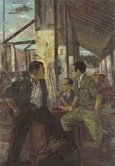 """Pertemuan di Tjikampek yang Bersedjarah"" by S. Sudjojono, Size: 104cm x 152 cm, Medium: Oil on canvas, Year: 1964"