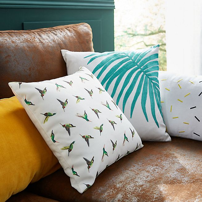 Colibri Coussin blanc à motifs oiseaux 40x40cm