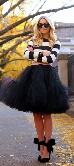 Striped crop sweater, black tulle skirt and ankle wrap high heels...Very Carrie By Atlantic - Pacific