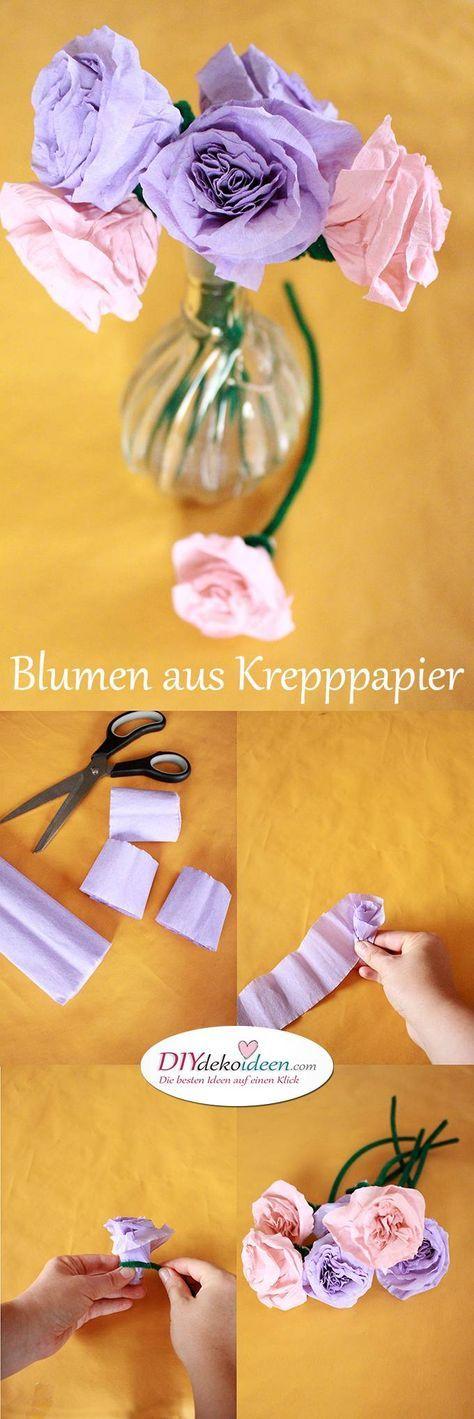 Gut Spielerisch Rosen Basteln Mit Krepppapier U2013 DIY Bastelideen Für Kinder