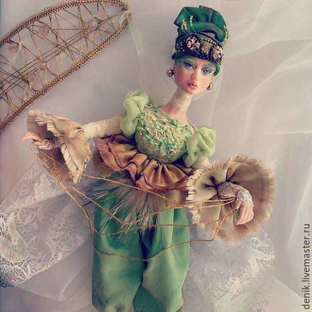 Купить Мотылек - ярко-зелёный, оригинальный подарок, коллекционная кукла, авторская кукла