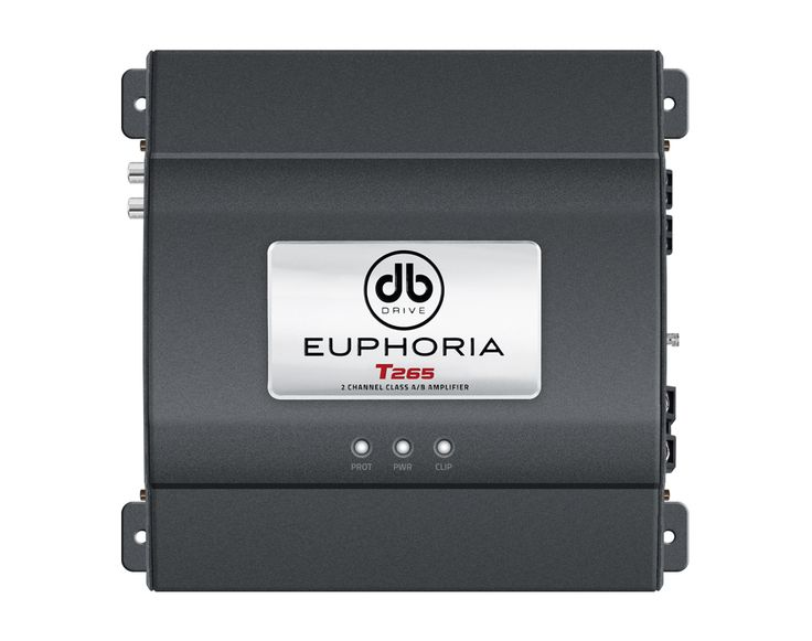 T265 : 2 Channel Class AB Amplifier/2 x 65W @ 4Ω/4 x 85W @ 2Ω  Output Power (RMS) @ 14.4 VDC , THD .04% @ 4Ω: 2 x 65W Output Power (RMS) @ 14.4 VDC , THD 1% @ 2Ω: 2 x 85W Output Power (RMS) @ 14.4 VDC , THD 1% @ 4Ω Bridge: 1 x 250W Power Supply Input Voltage: 11VDC to 15VDC THD (1kHz @ 4Ω) : 0.04% Bandwidth (-3 dB): 18- 22K Hz Damping Factor (1k Hz @ 4Ω): 100 S/N ratio ( as weighted @ 1 V olt): 100 dBA Input Sensitivity: .25MV - 6.5V RMS Minimum Load Impedance : 2Ω Input: Pre in RCA