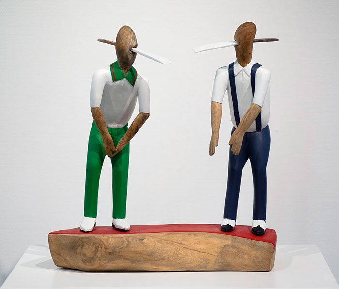 Collen Maswanganyi  Carve and dance with my father, 2013 Corkwood and acrylic (53 x 50 x 17cm)