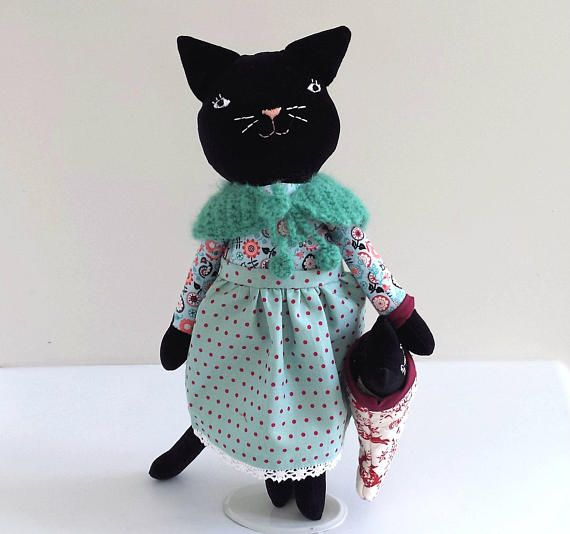 Black Cat Doll with Kitten in Christmas Stocking Heirloom Cat