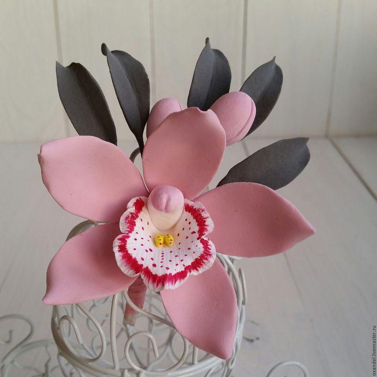 Купить Бутоньерка-брошь розовая орхидея - бледно-розовый, цимбидиум, орхидея ручной работы