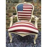 Barok salon fauteuil wit frame  Amerikaanse vlag
