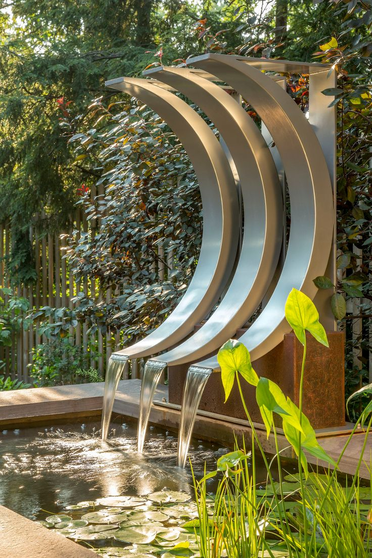 Buy A Hand Crafted Crescent Shaped Water Feature Made To Order From Braitman Design Studio I Outdoor Water Features Fountains Outdoor Water Fountains Outdoor Outdoor contemporary water feature by ivyline