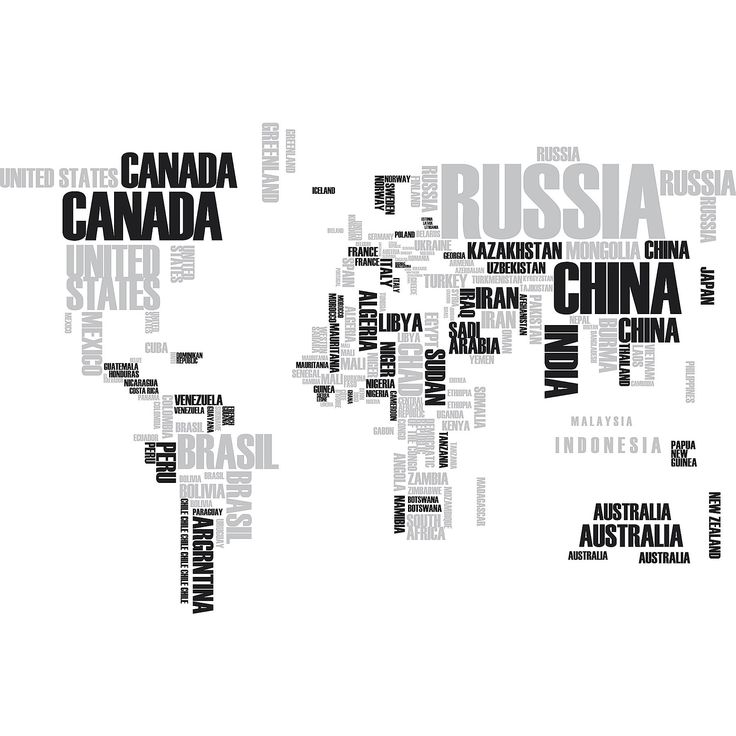 WallPops Textual World Map Wall Decals
