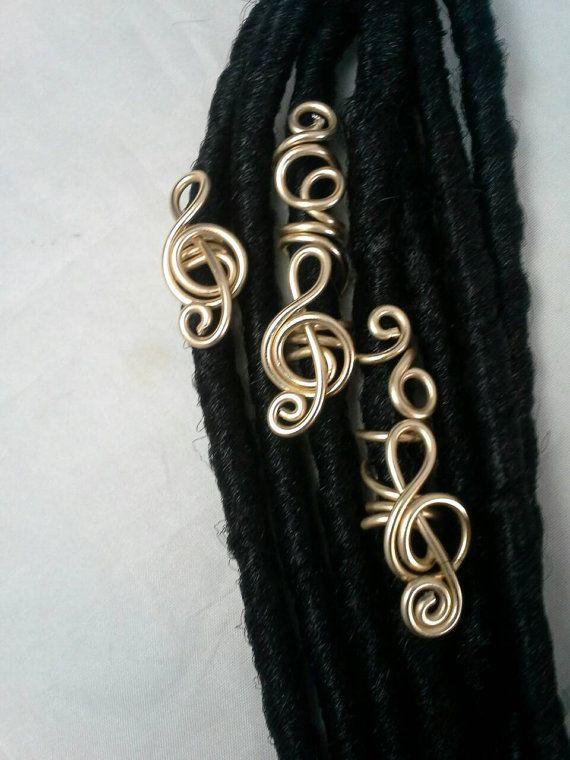 3 Pc Set Treble Clef Dreadlock Jewelry Hair by SoftlySisterDesigns