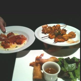 Galiician scallops, marinated Moorish chicken skewers, Crunchy prawn rolls with Nam Jin dipping sauce