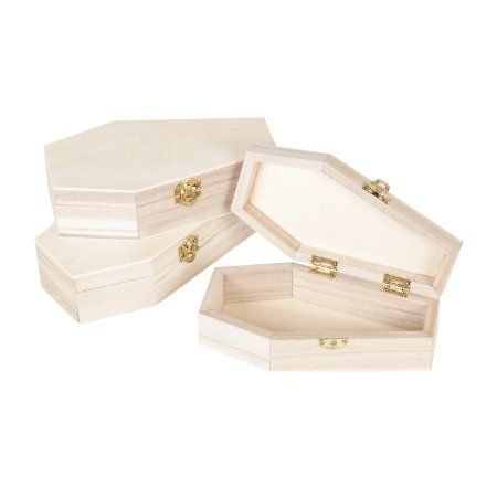 halloween clearance sale set of 4 unfinished wood coffin boxes for crafts home decor