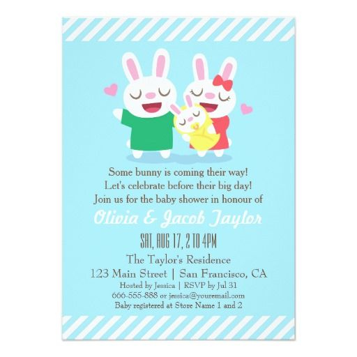 414 best Bunny Baby Shower Invitations images on Pinterest - baby shower invitation