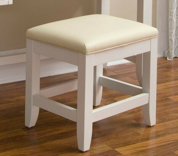 Vanity Stool Make Up Bench Faux Leather Cushion Bedroom Bathroom