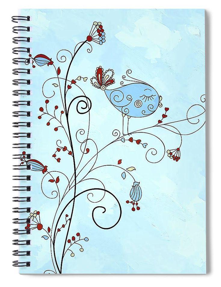 Bird In A Bush Whimsy Spiral Notebook for Sale by Georgiana Romanovna https://fineartamerica.com/products/bird-in-a-bush-whimsy-georgiana-romanovna-spiral-notebook.html