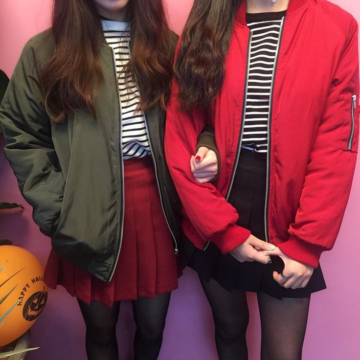 nice green/khaki and red bomber jackets paired with tennis skirts and striped shirts!! :-DDD these are from mixxmix