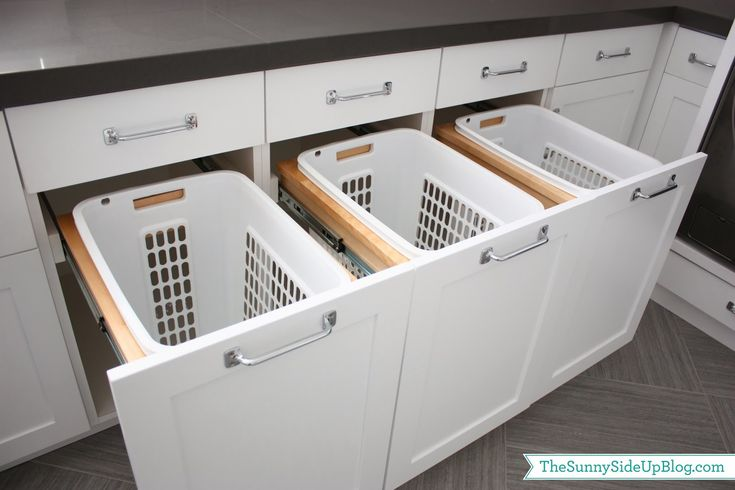Sunny Side Up: Laundry Room Pull Out Hampers (been dreaming about these for a long time!)