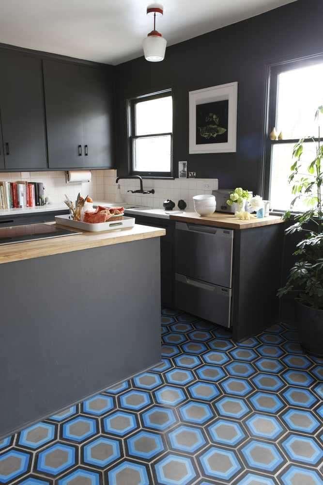 blue floor tiles kitchen