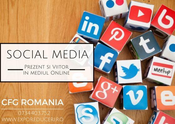 Social Media - Crearea si gestionarea principalelor conturi Social Media; - Realizarea strategiei de promovare - Grafica personalizata pentru fiecare postare - Expunem mesajul tau unui public targetat - Servicii de copywriting  Solicita acum detaliile de care ai nevoie!  office@exporeduceri.ro, 0734403752  http://bit.ly/2iUX1tL